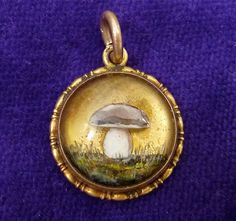 Antique Essex Crystal Mushroom 14K Gold Charm Pendant