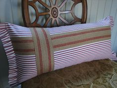 Red Ticking Lumbar Pillow with Ruffled Edges Accented with Upholstery Jute Webbing on Etsy, $45.00