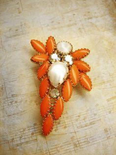 HUGe vintage brooch orange Dramatic Rhinestone by vintagesparkles, $75.00