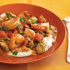 Shrimp and Okra Gumbo - Quick and Easy Fish and Shellfish Recipes for Dinner Tonight - Cooking Light Mobile Shrimp And Rice Recipes, Shellfish Recipes, Seafood Recipes, Dinner Recipes, Cooking Recipes, Healthy Recipes, Gumbo Recipes, Cajun Recipes, Cooking Tips