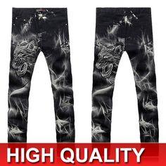 Nuevo estilo diseñados pintado Prints Straight Jeans ajustados pantalones vaqueros chicos pantalones casuales 8 tamaños MJB027 en Jeans de Moda y Complementos Hombre en AliExpress.com | Alibaba Group