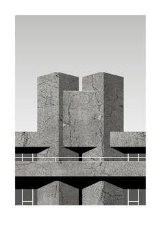 Royal National Theatre '76 (Grey) Royal National Theatre, Brutalist Buildings, Paper Dimensions, London City, Modernism, Fine Art Paper, Modern Architecture, Architects, Etsy Shop