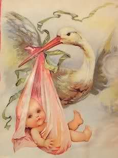 Special Delivery ~ Vintage stork and baby illustration Vintage Greeting Cards, Vintage Ephemera, Vintage Paper, Vintage Postcards, Images Vintage, Vintage Pictures, Decoupage, Illustrations Vintage, Baby Images