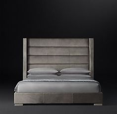 Horizontal Channel Shelter Leather Platform Bed | RH Modern