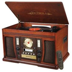 Victrola Recordable 7-in-1 Classic Wood 3-speed Turntable with Bluetooth : Target