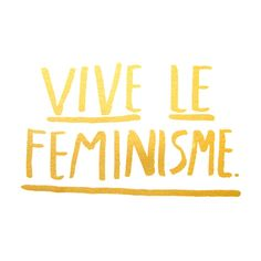 """Yay for feminism. Yay for glitter. - Gold glitter print on white paper. - 11x14"""", silk screened print"""