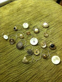 wine charms made out of buttons! add some beads for color and perfect!