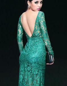 Midi Robes Robe En Dentelle Backless Verte elegante V Green Lace Dresses, Short Lace Dress, Lace Midi Dress, Elegant Dresses, Casual Dresses, Short Dresses, Fashion Dresses, Dress Up, Formal Dresses