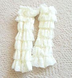New Ivory Cream Beige Baby Girl Infant Toddler Lace Leggings Ruffles Elastic  #NoBrand #Leggings