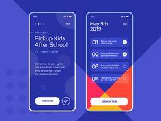 Taskr by Stian ◒ for Unfold on Dribbble App Ui Design, Mobile App Design, Interface Design, Ad Design, User Interface, Mobile Login, Application Design, Apps, Screen Design