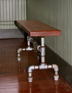 Barn Wood Bench, Reclaimed Old Growth Doug Fir, Galvanized pipe and old brass valve 125 p.s.i.