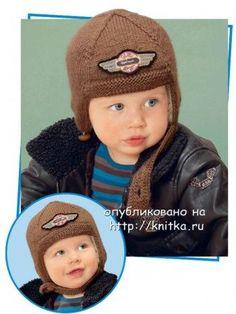 Вязаный шлем для мальчика. Вязание спицами.