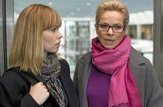 Birgitte Hjort Sørensen (playing Katrine Fønsmark) and Benedikte Hansen (playing Hanne Holm) in Borgen