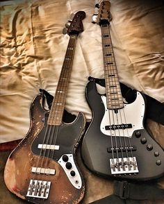 Vintage Fender Jazz Bass and a Alleva Coppolo 5-string