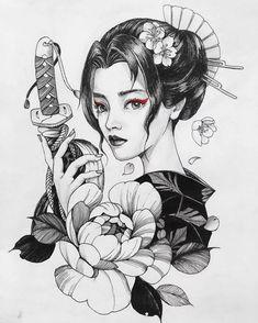 Geisha Tattoos, Geisha Tattoo Design, Japan Tattoo Design, Geisha Kunst, Geisha Art, Tattoo Girls, Girl Tattoos, Bodysuit Tattoos, Kunst Tattoos