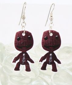 Little Big Planet Sackboy Earrings (SD) (FS) sack boy - video games - geekery - lbp - games - Little Big Planet, Fashion Earrings, Kids Playing, Planets, Valentines Day, Video Games, Dangles, Halloween, My Style