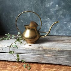 Vintage Brass Watering Can / 1970's Watering Can / Houseplant Watering Can