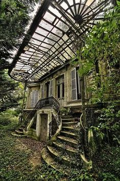 if you want to find me then look for abandoned house surrounded by big garden where I grow my flowers, wear only lace dresses, bake cookies and cakes drink lots of wine and dance under the Hozier and. Abandoned Buildings, Abandoned Mansions, Old Buildings, Abandoned Places, Abandoned Castles, Abandoned Library, Beautiful Buildings, Beautiful Places, Stairways