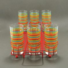 Stripped Tumblers w Tray Carrier Mid Century Glass Vintage