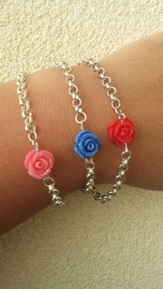 Jasseron armband met roosje. Te bestellen via dails@hotmail.com