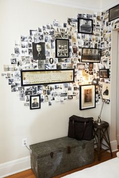 Would love to do something similar to this with old family letters, postcards, photos and printed pages from my family tree. It would look cool going up the stairs.