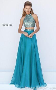 Sherri Hill 50096 Two Piece Chiffon Prom Dress Beads