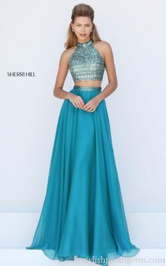 Sherri Hill 50096 Two Piece Chiffon Prom Dress Beads