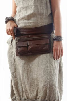 Brown Leather Hip Bag bum bag fanny pack travel pouch belt