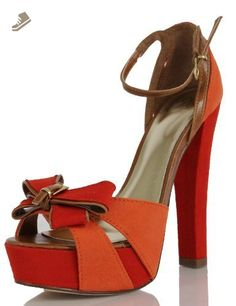 Delicious Women's Neo Bow Knot Strappy Color Block Platform High Heels, Coral, 65 M US (7 M) - Delicious pumps for women (*Amazon Partner-Link)