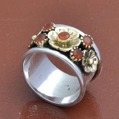 HOT SELL 925 SOLID STERLING SILVER RED ONYX CUT FANCY RING 6.41g DJR3680 #Handmade #Ring