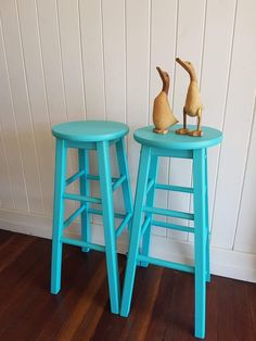 Stools painted in Fusion Mineral Paint in Azure