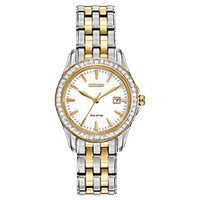 Elegantly chic and stunning, the Citizen Eco-Drive Silhouette Crystal Watch sparkles with 48 Swarovski crystals along the bezel. This classic timepiece is crafted of two-tone stainless steel and features a crisp white dial, accented by goldtone markers. Timex Watches, Seiko Watches, Citizen Watches, Fossil Watches, Stainless Steel Watch, Stainless Steel Bracelet, Daniel Wellington, Cartier, Diesel