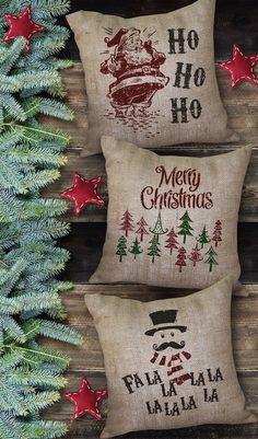 Burlap Christmas pillows