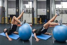 M Fitness-ball curl excéntrico a una pierna