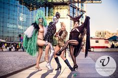 German Burlesque Performers Koko LaDouce, Hedoluxe, Mama Ulita & Lilly Tiger in front of the central train station in Berlin. Photo: www.verenagremmer.com Fairytale Fashion, Showgirls, Train Station, Burlesque, High Fashion, Fairy Tales, Berlin, Fur, Costumes