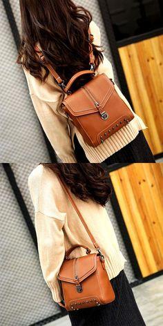 Unique Ladies Rivet Small PU Multi-function Shoulder Bag Backpack for big sale! #backpack #rivet #Bag #student
