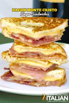 Bacon Monte Cristo Finger Sandwiches. These look incredible and I can't wait to try them. This is not vegan!! But, if you're going to be bad...do it right...if you want the real monte cristo recipe message me. There is a vegetarian version too.vb