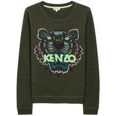 KENZO Womens Long-Sleeved Tops KENZO Green Tiger-embroidered Cotton... ($275) ❤ liked on Polyvore featuring tops, hoodies, sweatshirts, green sweatshirt, embroidered top, sweatshirts hoodies, sweat tops and sweat shirts