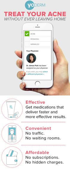 Simplify your skin care routine with YoDerm—the easiest way to get prescription acne treatment from a board-certified dermatologist. No traffic. No waiting rooms. Just sign up to receive an online dermatology consultation and prescription treatment within 24 hours. At just $59 per consultation, it's an affordable solution for clearer, healthier skin.