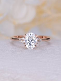 Vintage Moissanite engagement ring rose gold oval engagement ring diamond cluster ring wedding Bridal Jewelry Anniversary gift for women - Moissanite engagement ring rose gold engagement ring vintage Diamond Cluster ring wedding Bridal Se - Diamond Cluster Engagement Ring, Dream Engagement Rings, Vintage Engagement Rings, Diamond Rings, Solitaire Diamond, Solitaire Engagement, Solitaire Rings, Oval Diamond, Simple Elegant Engagement Rings