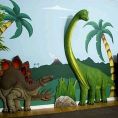 Dinosaur Wall Art Decor- Would love to have for my David! Dinosaur Room Decor, Dinosaur Bedding, Dinosaur Wall Decals, Dinosaur Bedroom, Art Mural 3d, 3d Wall Murals, 3d Wall Art, Die Dinos Baby, Eclectic Artwork