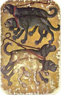 Stuttgart Playing Cards - 4 of Hounds, Greek Mythological Creatures, Medieval Games, Vintage Playing Cards, Medieval World, Renaissance Paintings, Medieval Manuscript, Alba, Dark Ages, Middle Ages