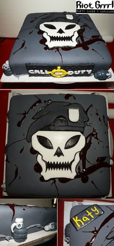 Call of Duty COD Black ops Birthday Cake with barb wire and grenades around the sides. =)