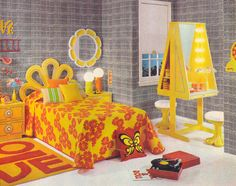 bedroom Groovy Bedroom Design From the March, 1970 issue. - The Groovy Archives 70s Bedroom, Retro Bedrooms, Bedroom Vintage, Bedroom Decor, Small Bedrooms, Guest Bedrooms, Teen Bedroom, 1970s Decor, 70s Home Decor
