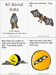 Education to the Core: Bats: A FREE Mini-Book and Writing Reflection Science Halloween, Halloween Activities, Autumn Activities, Preschool Halloween, Halloween Week, Halloween Projects, Fall Preschool, Kindergarten Science, Preschool Activities