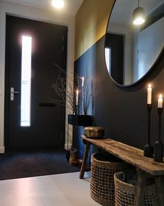 De make-over van onze hal en toilet met verf van Farrow & Ball Entry Hallway, Black Walls, Inspired Homes, Mudroom, Entryway Decor, Home Interior Design, Home And Living, Decoration, Home Goods