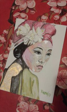 Watercolors. Acuarela. Aquarelle. Geisha. Acuarelas perlescentes. Perlescents watercolors