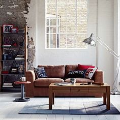 Tan leather 'Paris' large sofa - Loft living.