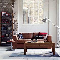 Tan leather 'Paris' large sofa - Loft living.