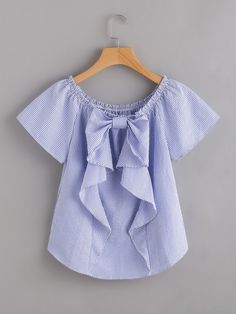 Cheap blouse blue, Buy Quality vertical striped blouse directly from China blouse fashion Suppliers: Sheinside Vertical Striped Blouse Blue Cute Bow Frill Trim Women Tops 2017 Fashion Summer Casual Ruched Boat Neck Tunic Blouse Blouse Styles, Blouse Designs, Girl Outfits, Cute Outfits, Fashion Outfits, Modelos Plus Size, Fashion 2017, Casual Tops, No Frills
